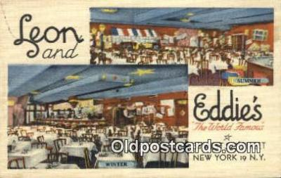 res050367 - Linen, Leon & Eddie's Restaurant, New York City, NYC Postcard Post Card USA Old Vintage Antique