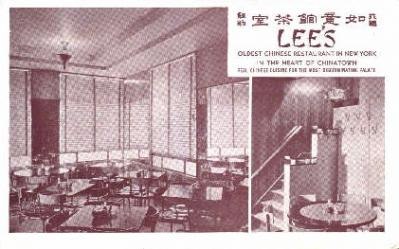res100015 - Lee's, Chinatown, New York, NY, USA, Chinese Restaurant Postcard Postcards