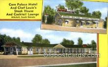 rds001013 - Mitchell, South Dakota USA Corn Palace Motel & Chef Louie's Steak House Road Side Postcard Post Cards