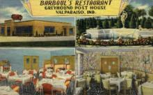 res001013 - Barboul's Greyhound Post House, Valparaiso,  Ind, USA. Restaurant, Diner Postcard Postcards