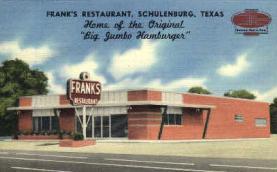 res001029 - Frank's, Home of Big Jumbo Hamburgers Schulenburg, Texas, USA, Restaurants, Diners Postcard Postcards