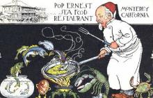 res001149 - Pop Ernest Sea Food Restaurant Monterey, CA, USA Postcard Post Cards Old Vintage Antique