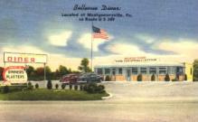 res001236 - Bellevue Diner Montgomeryville, PA, USA Postcard Post Cards Old Vintage Antique