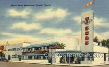 res001428 - Miami Florida USA Linen postcard Seven Seas Restaurant Old Vintage Antique Postcard Post Cards