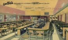 res001518 - Miami Beach, FL USA Wolfies Restaurant Old Vintage Antique Postcard Post Cards