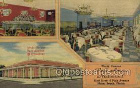 res001527 - Miami Beach, FL USA Park Avenue Restaurant Old Vintage Antique Postcard Post Cards