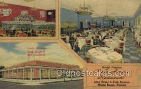 res001546 - Miami Beach, FL USA Park Avenue Restaurant Old Vintage Antique Postcard Post Cards
