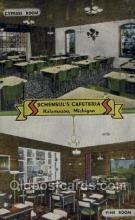 res001577 - Kalamazoo Michigan USA Linen Postcard Schensuls cafeteria Old Vintage Antique Post Cards