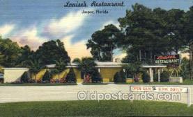 res001610 - Jasper Florida USA Linen Postcard Louises Restaurant Old Vintage Antique Post Cards