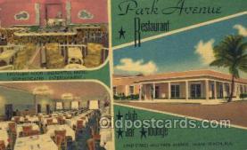 res001647 - Miami Beach Florida USA Linen Postcard Park Avenue Restaurant Old Vintage Antique Post Cards