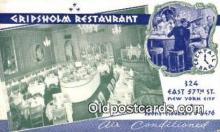 res050017 - Gripsholm Restaurant, New York City, NYC Postcard Post Card USA Old Vintage Antique