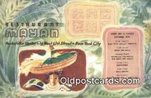 res050358 - Restaurant Mayan Restaurant, New York City, NYC Postcard Post Card USA Old Vintage Antique