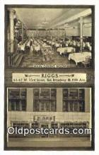 res050389 - Riggs Restaurant, New York City, NYC Postcard Post Card USA Old Vintage Antique