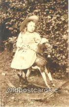 rho001001 - Child, Children, Rocking Horse Real Photo Postcard Postcards