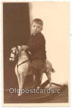 rho001003 - Child, Children, Rocking Horse Real Photo Postcard Postcards