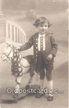 rho001008 - Child, Children, Rocking Horse Real Photo Postcard Postcards