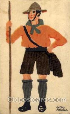 sct000097 - Artist Gyori Aranka, Boy & Girl Scouts, Scout, Scouting, Postcard Postcards