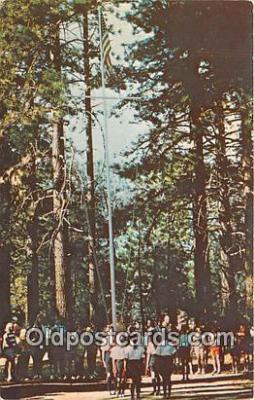 sct100179 - Flag Ceremony, Camp Tecuya Frazier Park, California, USA Postcards Post Cards Old Vintage Antique