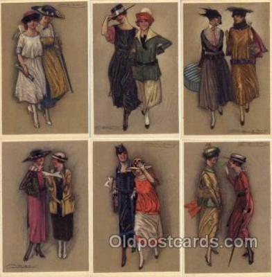 set145 - Artist Mauzan set of 6 postcards series 343