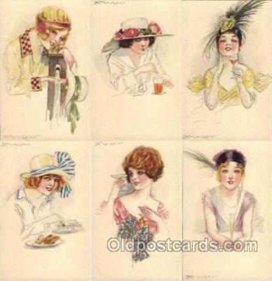 set148 - Artist Mauzan set of 6 postcards series 41