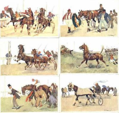 set197 - Fritz Sconpflug Postcards, Series B.K.W.I. 678, Horse Racing 6 Card Set Post Card Old Vintage Antique
