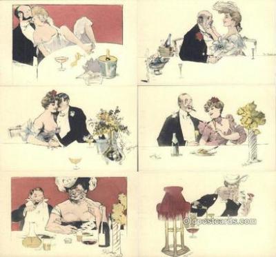 set218 - Artist Rudolf Bieiyertz? 6 Card Set Postcard Old Vintage Antique