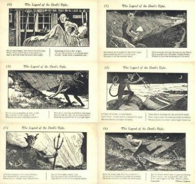 set228 - Legend of the Devil's Dyke 6 Card Set Postcard Old Vintage Antique