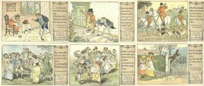 set232 - Randolph Caldecott 6 Card Set Postcard Old Vintage Antique