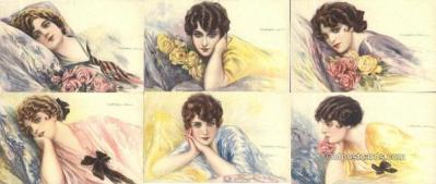 set236 - T. Corrbella 6 Card Set Postcard Old Vintage Antique
