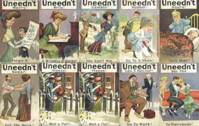 set250 - Uneedn't Swear 10 Card Set Postcard Old Vintage Antique