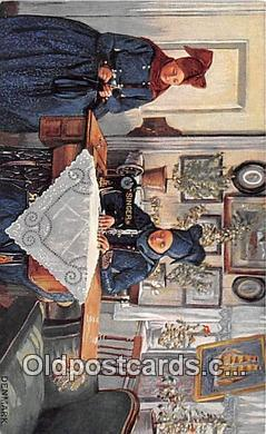 sew001057 - Sewing Machine Postcard