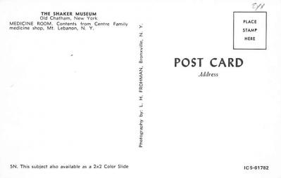 sha050045 - Shaker Postcard Mt. Lebanon, New York USA, Old Vintage Antique  back