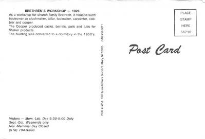 sha050075 - Shaker Columbia County, Postcard Mount Lebanon, New York USA, Old Vintage Antique  back