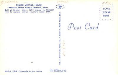 sha700067 - Shaker Postcards Old Vintage Antique Post Cards  back