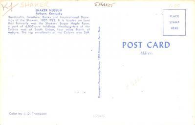 sha700149 - Shaker Postcards Old Vintage Antique Post Cards  back