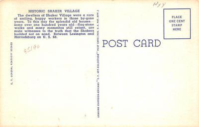 sha700363 - Shaker Postcards Old Vintage Antique Post Cards  back