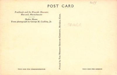 sha700515 - Shaker Postcards Old Vintage Antique Post Cards  back