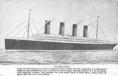 shi002010 - Steamer Titanic Ship Ships a loss of over 1300 lives,  Postcard Postcards