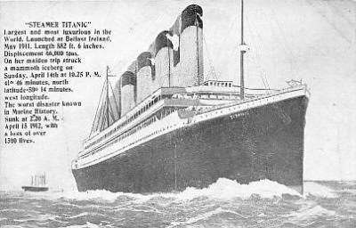 shi002057 - Titanic Ship Ships 1300 lives Postcard Postcards