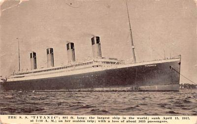 shi002184 - Titanic Ship Post Card Old Vintage Antique
