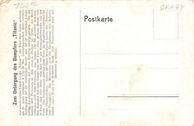 shi002244 - Titanic Ship Post Card Old Vintage Antique  back