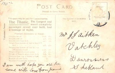 shi002250 - Titanic Ship Post Card Old Vintage Antique  back