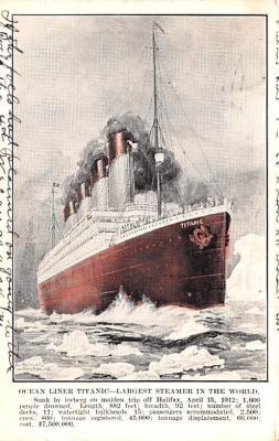 shi002276 - Titanic Ship Post Card Old Vintage Antique
