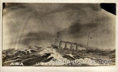 shi003179 - U.S.S. Frederick in storm Military Ship, Ships Postcard Postcards