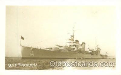 shi003205 - U.S.S. Tuscaloosa, Real Photo Military Ship Ships Postcard Postcards