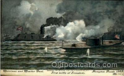 shi003285 - Battle of Ironclads Military Ship, Ships, Postcard Postcards