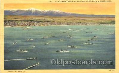 shi003376 - U.S. Battleships at anchor, long beach, california,USA Military Ship Ships Postcard Postcards