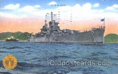 shi003377 - U.S.Biloxi at anchor, USA Military Ship Ships Postcard Postcards
