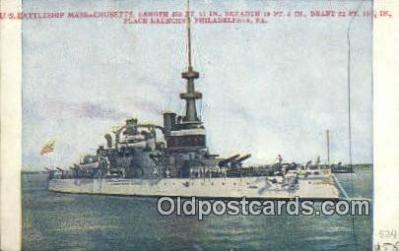 shi003431 - US Battleship, Massachusetts Military Battleship Postcard Post Card Old Vintage Anitque