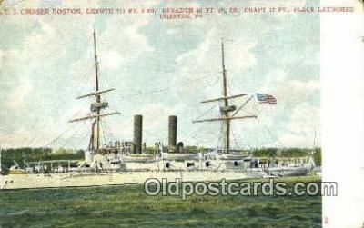 shi003432 - US Cruiser Boston, Chester, PA Military Battleship Postcard Post Card Old Vintage Anitque